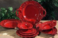 Handmade Italian Ceramic Red TUSCAN Horchow 16pc ...