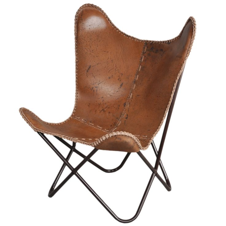 Antibrown Leather Butterfly Chair