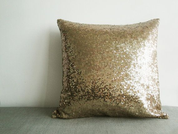 Dark Gold Sequin Pillow Cover , Holiday Decor , Throw Pillow , Decorative Pillow , Glitter Pillow , Sparkle Pillow