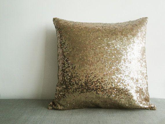 Dark Gold Sequin Pillow Cover , Holiday Decor , Throw Pillow , Decorative Pillow , Glitter Pillow , Sparkle Pillow