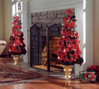 Lighted Indoor Poinsettia Holiday Christmas Tree ...