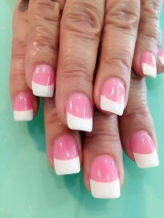white and pink gel nails baby