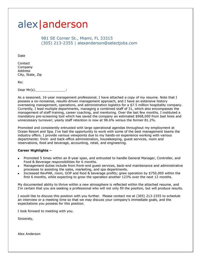 Cover letter for hospitality and tourism  Writing And Editing Services  attractionsxpresscom