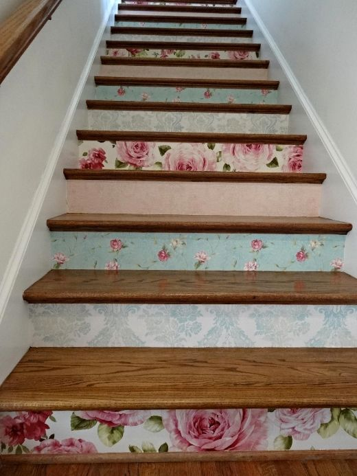 Pink and Aqua Wallpapers from Seabrook for the staircase. Antique but with a bold Cabbage Rose pattern. Uploaded by rickijilltrip.
