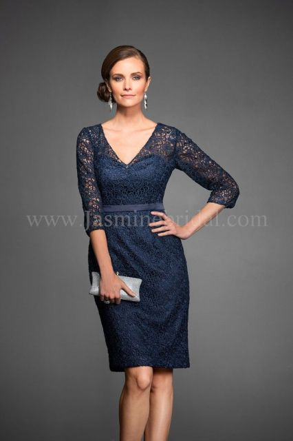 "Jasmine Black Label Mothers Dresses, Fall 2014. Lace/Malay Satin Knee length (25"") V-neckline gown with 3/4 sleeves. Also available in floor length for M160065A. Shown in Navy."
