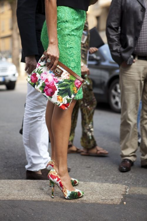 floral clutch and shoes...