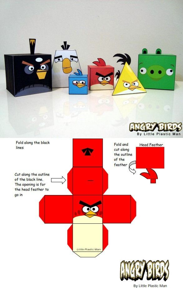 crafts about family for children -- angry birds printables for 3d shapes
