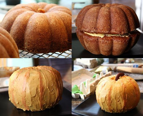 Two bundt cakes stacked on top of each other=pumpkin. Use spice cake and cream cheese frosting for a fall flavor cake.
