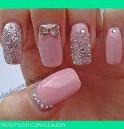 pink glitter and rhinestone nails