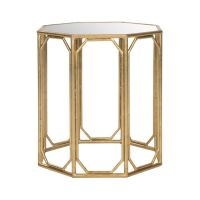 Octagon Gold-Leaf Mirror Accent Table