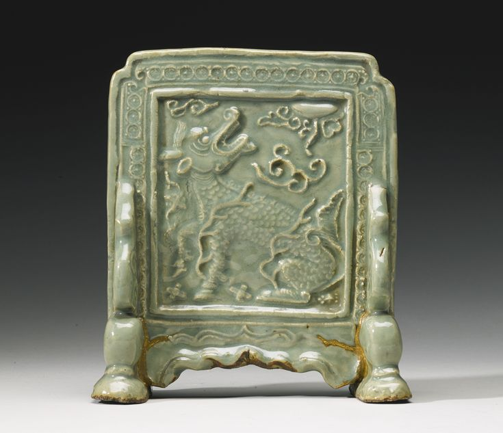 A 'Longquan' celadon table screen, Ming Dynasty
