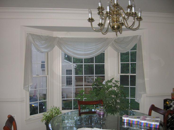 Triple bay window w/scarf treatment