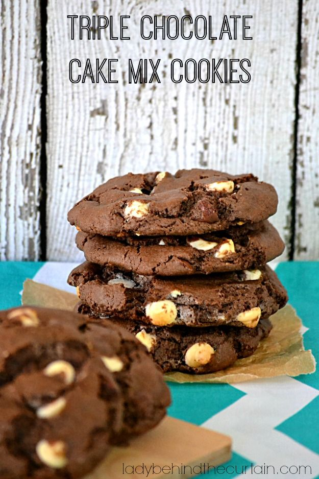 These TRIPLE CHOCOLATE CAKE MIX COOKIES make the perfect cookie mix in a jar hostess gift, teacher gift or neighbor gift.