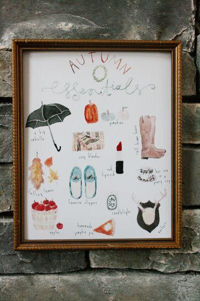 autumn essentials {freebie art print}