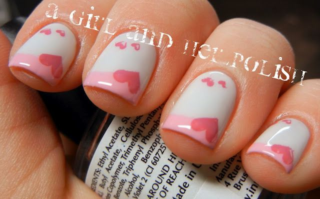 Pink Heart nails.(: