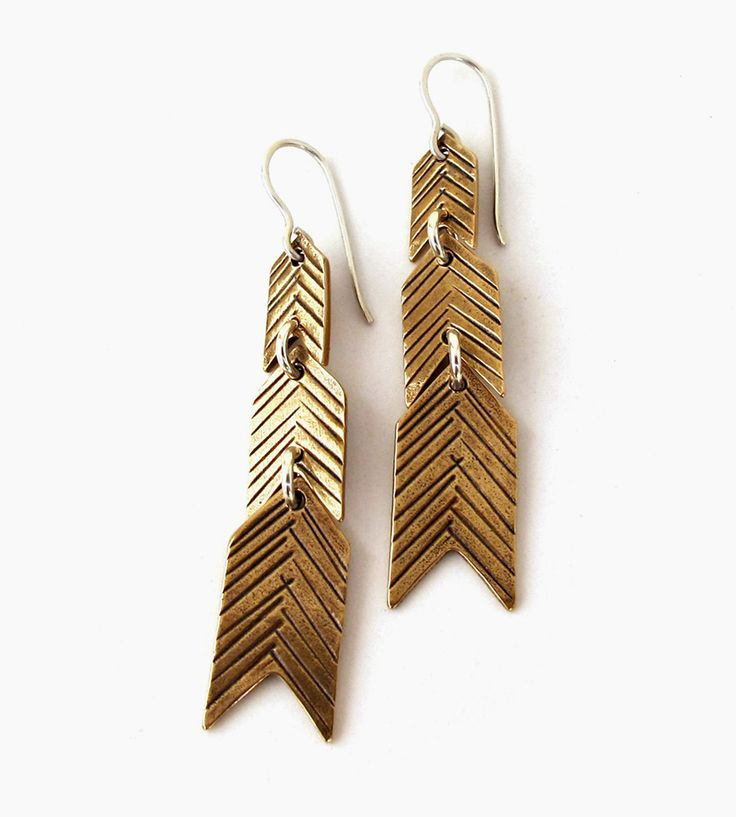 Feathervane Bronze Chevron Earrings by Laurel Hill Jewelry on Scoutmob Shoppe. Spice up a simple outside with these handmade dangling chevron earrings.