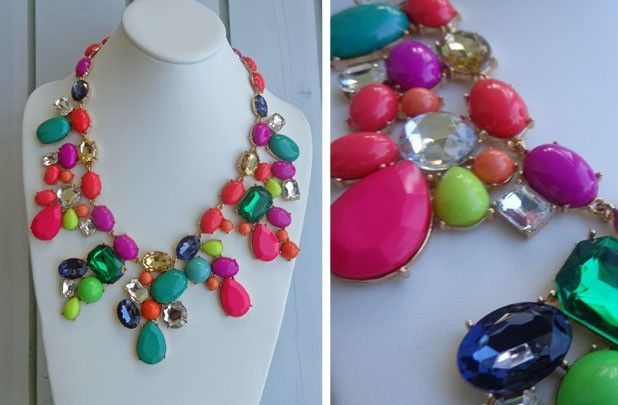 """J Crew inspired Mix Candy Statement Necklace...on sale now on @GroopDealz website! This one is brighter """"neon-ish"""" than the original one...I like it!"""