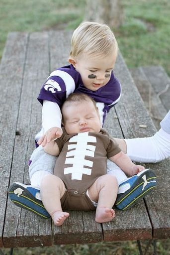Big bro is the football player and thanks to white tape, baby bro is the football! If I ever have two boys I am so doing this!