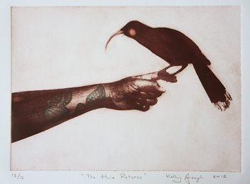 Huia Bird Intaglio print by Kapiti artist