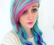 pink purple and blue scene hair