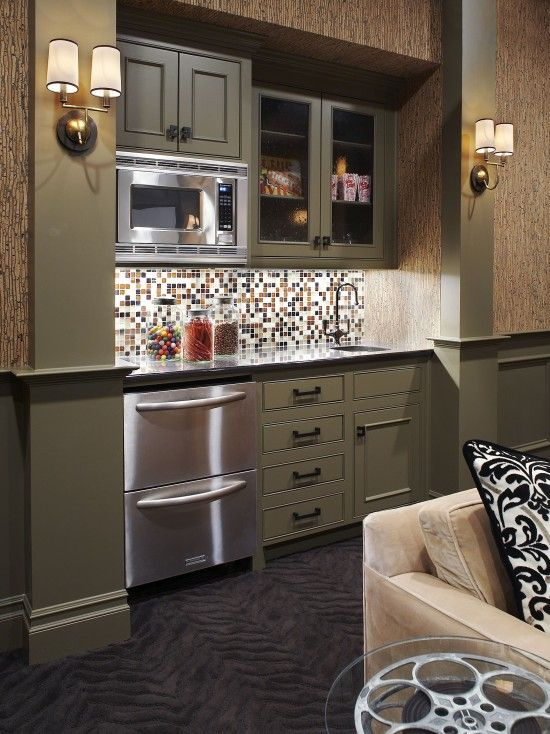 Small bar area in a media room  Specialty Spaces  Pinterest