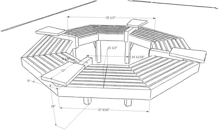 Plans for building a bench around a tree, free sofa