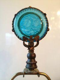 Vtg Antique Art Nouveau Lamp Finial Frosted Glass Floral ...