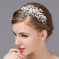Vintage Style Wedding Headband, Rhinestone Pearl Bridal ...