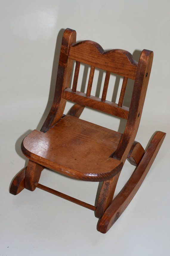 Wooden Doll Size Rocking Chair Fits 18 Inch Dolls