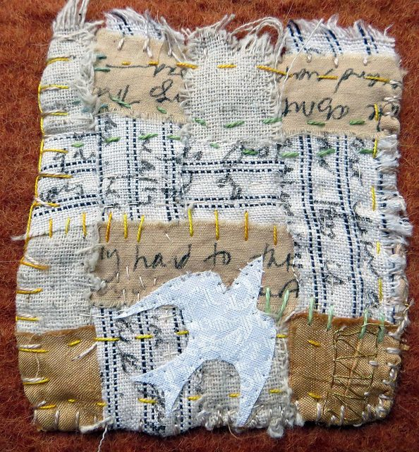 detail of text and textiles:  'I Remember that Summer' -by Jane LaFazio