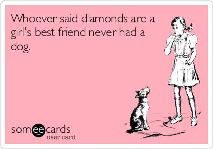 Whoever said diamonds are a girl's best friend never had a dog. | Friendship Ecard | someecards.com
