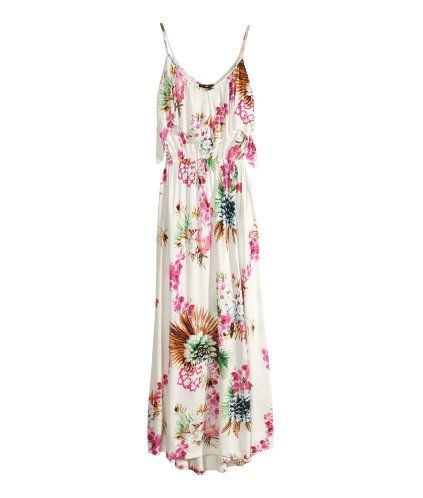 H&M Maxi Dress $29.95 V-neck jersey maxi dress with narrow shoulder straps. Ruffle at top, elasticized waist seam, and slightly longer back section