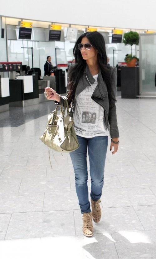 The tee, jacket, sunnies & Balenciaga bag.