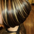 Tri colored hair highlights with bobbed haircut pictures
