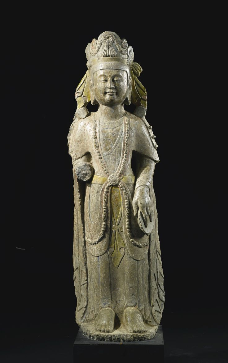 A stone figure of a Bodhisattva, China, Northern Qi-Sui Dynasty