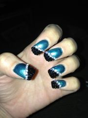 black and teal nail art kat's