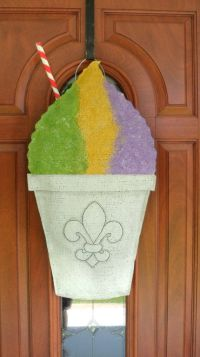 New Orleans Snowball / Snowcone burlap door and wall hanger