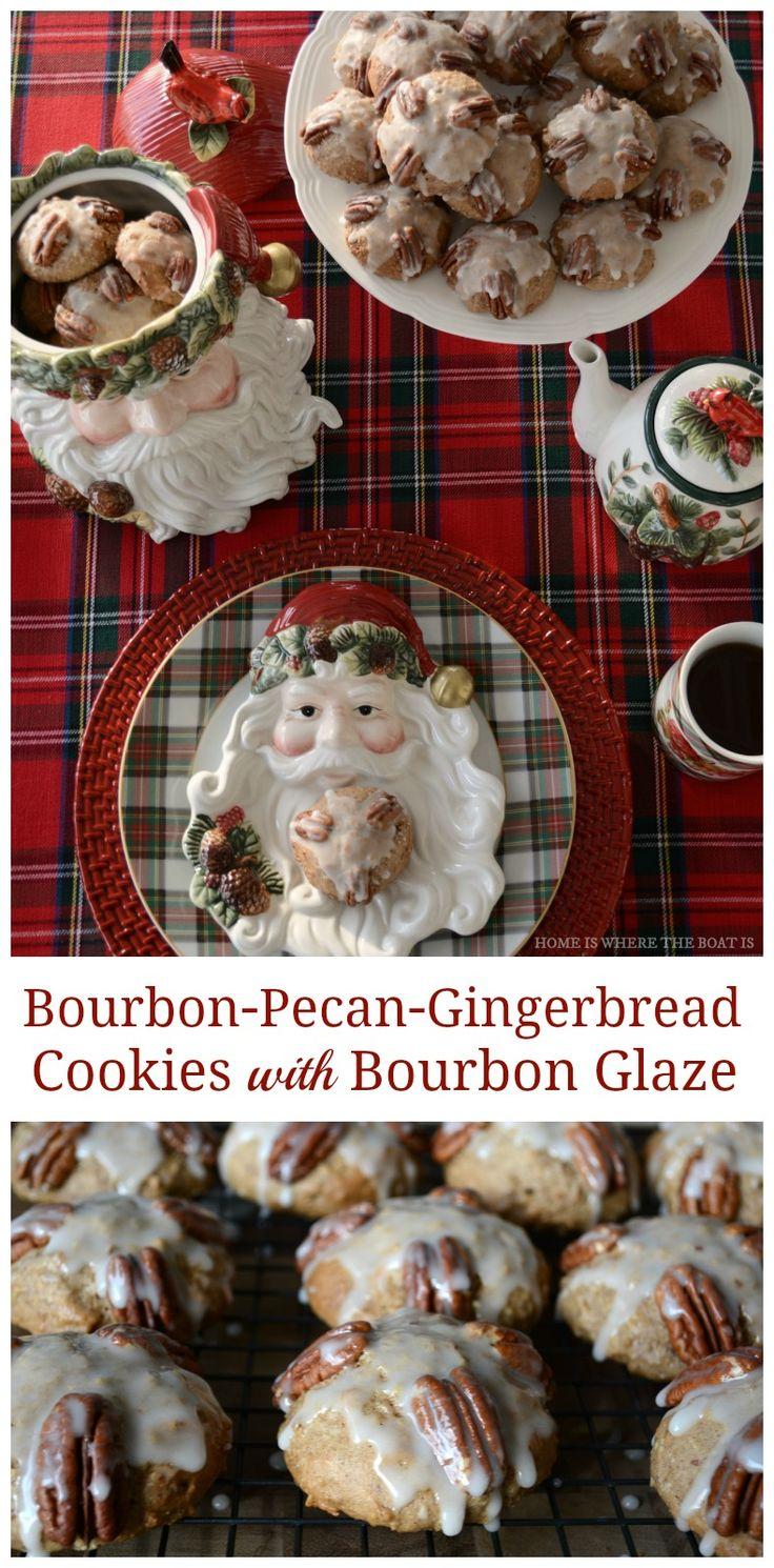 Bourbon-Pecan-Gingerbread Cookies with Bourbon Glaze | ©homeiswheretheboatis.net #Christmas #recipes #cookies #bourbon #gingerbread