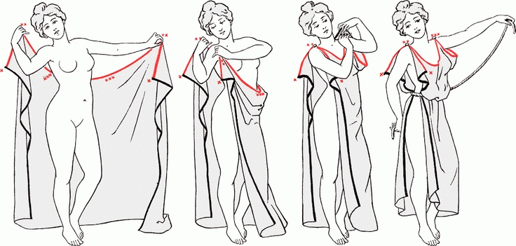 How to tie a chiton (toga) for the ladies!  Hitting up the fabric store for this one.