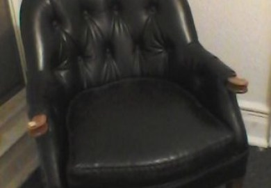 Antique Black Leather Chair