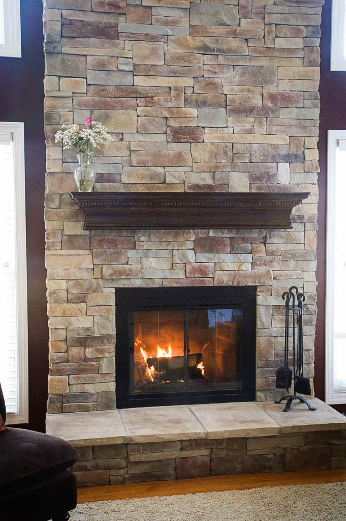 stone veneer fireplace from brick  For the Home  Pinterest