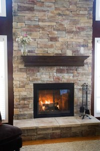 stone veneer fireplace from brick | For the Home | Pinterest