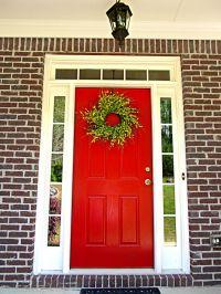 Red Front Door - Brick House - White/Cream Trim   Front ...