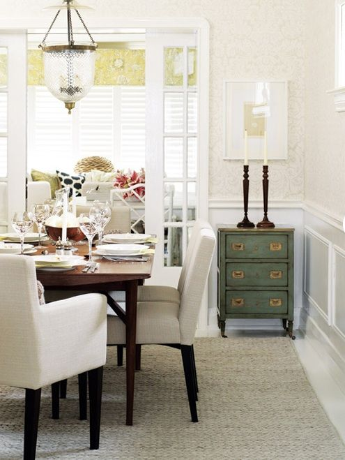 Using a small accent chest in the dining room - Style at Home - Georgica Pond