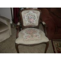 Vintage Victorian Courting Couple Tapestry Chair Curved ...
