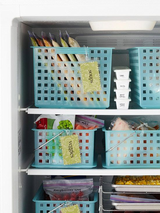 What a great idea!  - Use the baskets to organize packages by type (frozen pizzas in one, bags of vegetables in another, etc.) and nothing will get lost in the back of your freezer.