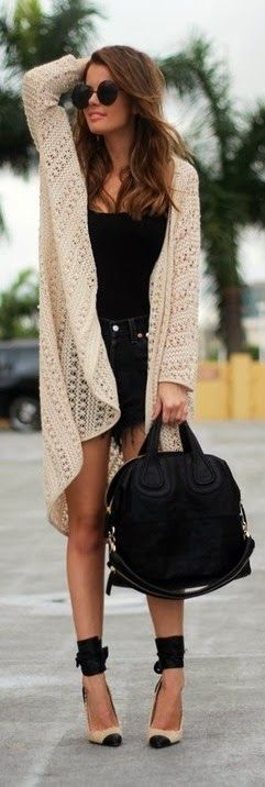 Oversized Cardigan With Jeans Shorts and Shades