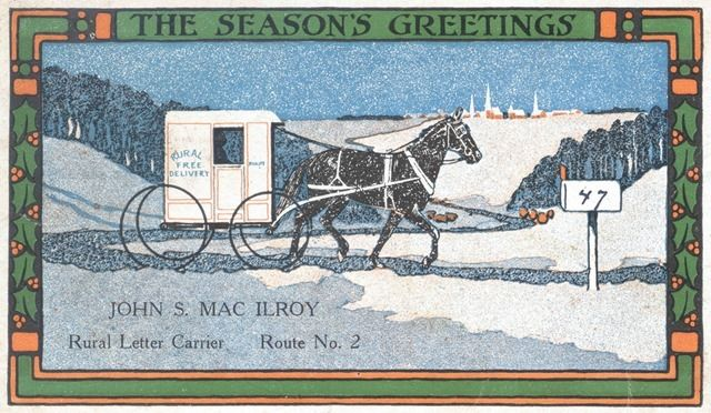 Rural Letter Carrier's Christmas Card -- Christmas postcard from Pittstown, New Jersey rural carrier John S. MacIlroy to William Taylor dated December 21, 1915. (Smithsonian Institution on The Commons at Flickr) http://www.flickr.com/photos/smithsonian/3112471787/