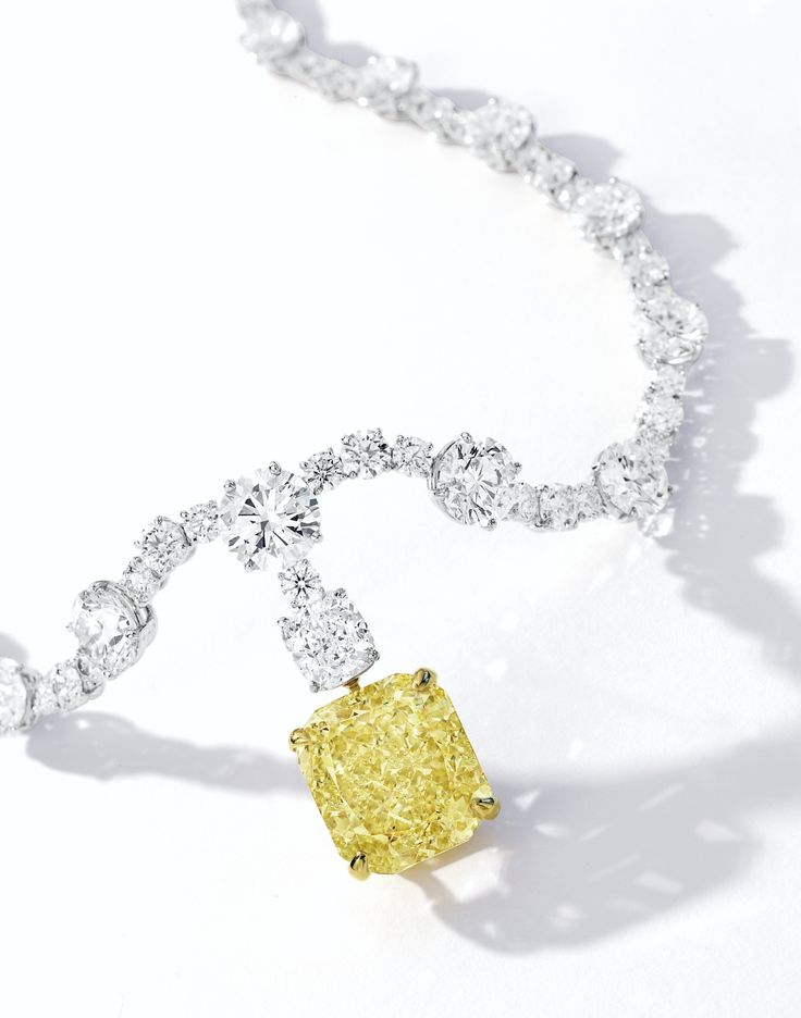 Fancy Intense Yellow Diamond and Diamond Necklace | Lot | Sotheby's