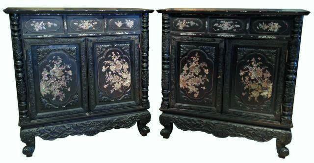 Paire de meubles à hauteur d'appui en bois de fer et incrustations de nacre INDOCHINE XIXe siècle - H. 125 cm L. 121 cm P. 60 cm